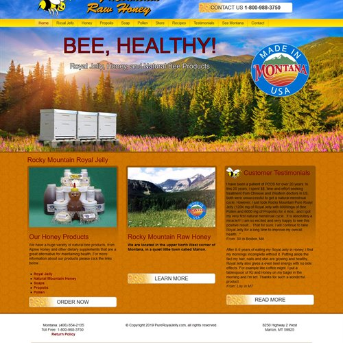 Rocky Mountain Raw Honey - full home page