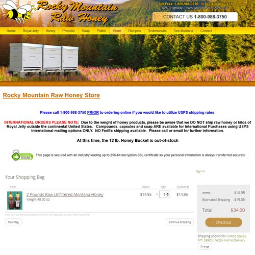 Rocky Mountain Raw Honey - store checkout