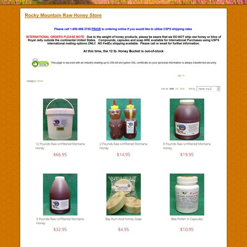 Rocky Mountain Raw Honey - store products