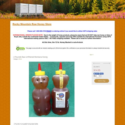 Rocky Mountain Raw Honey - store product view