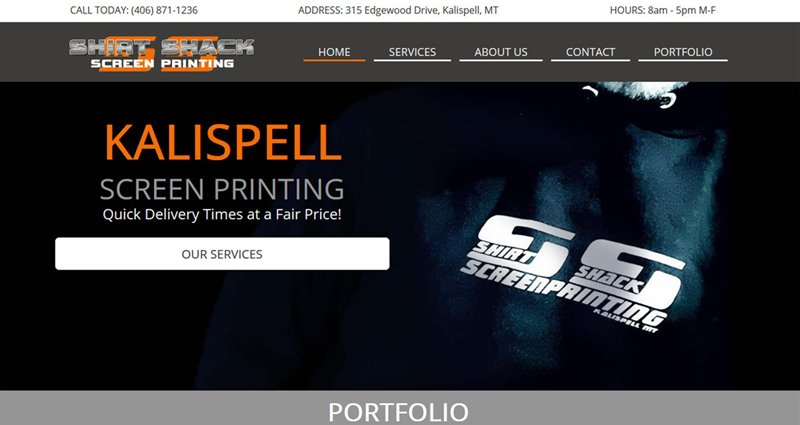 Website Express Kalispell Design Portfolio Shirt Shack Screen Printing