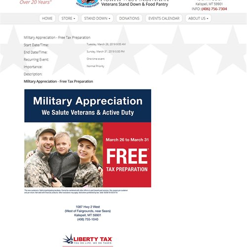 NW MT Veterans Stand Down & Food Pantry  - calendar event page