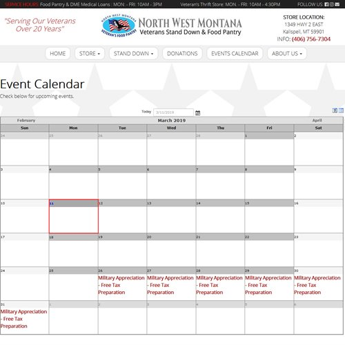 NW MT Veterans Stand Down & Food Pantry  - full calendar page