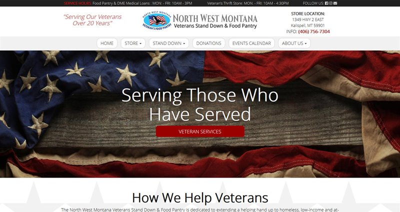 Website Express Kalispell Design Portfolio NW MT Veterans Stand Down & Food Pantry