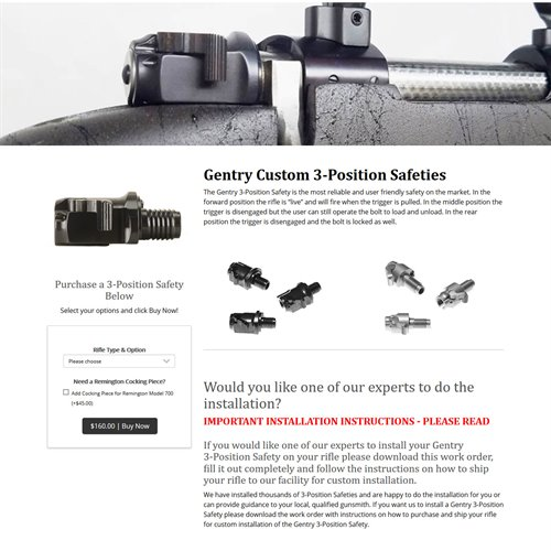 Gentry Custom, LLC - store product page