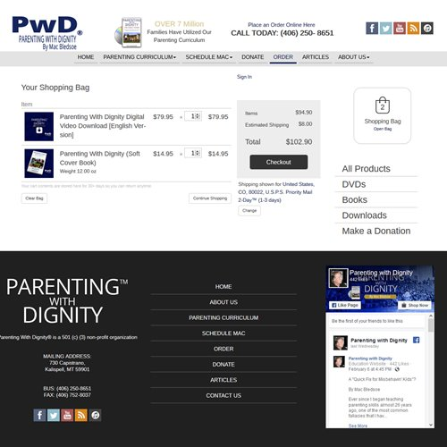 Parenting With Dignity - store check out process