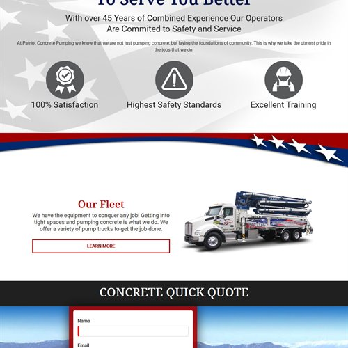 Patriot Concrete Pumping - full home page