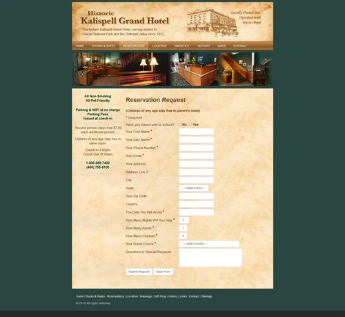 Kalispell Grand Hotel - old website reservation form