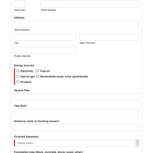 Lilienthal Insulation - custom energy audit form